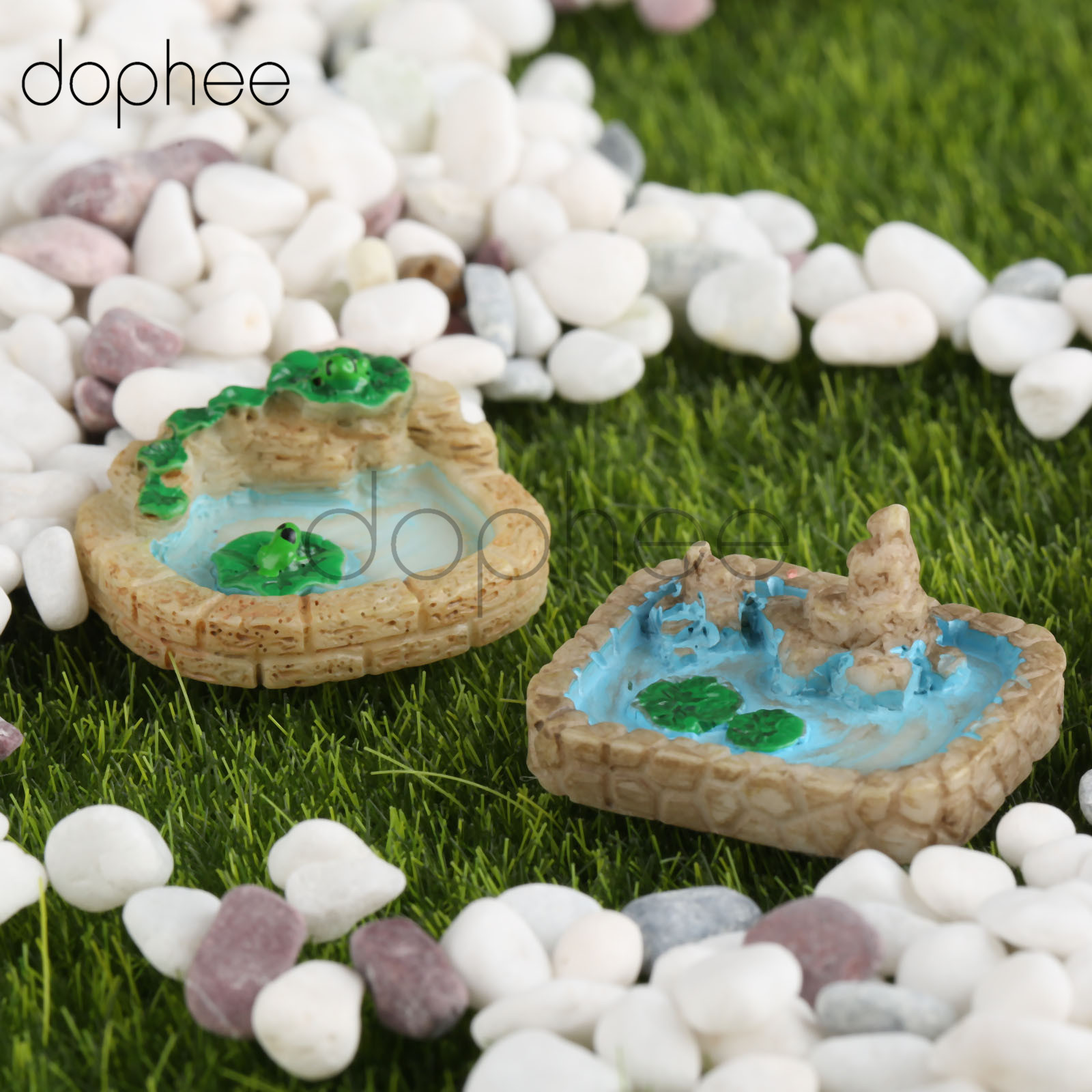 dophee 2pcs Miniature Pool Resin Micro Landscaping Decoration Sand Table DIY Accessories Fairy Garden Miniatures Random