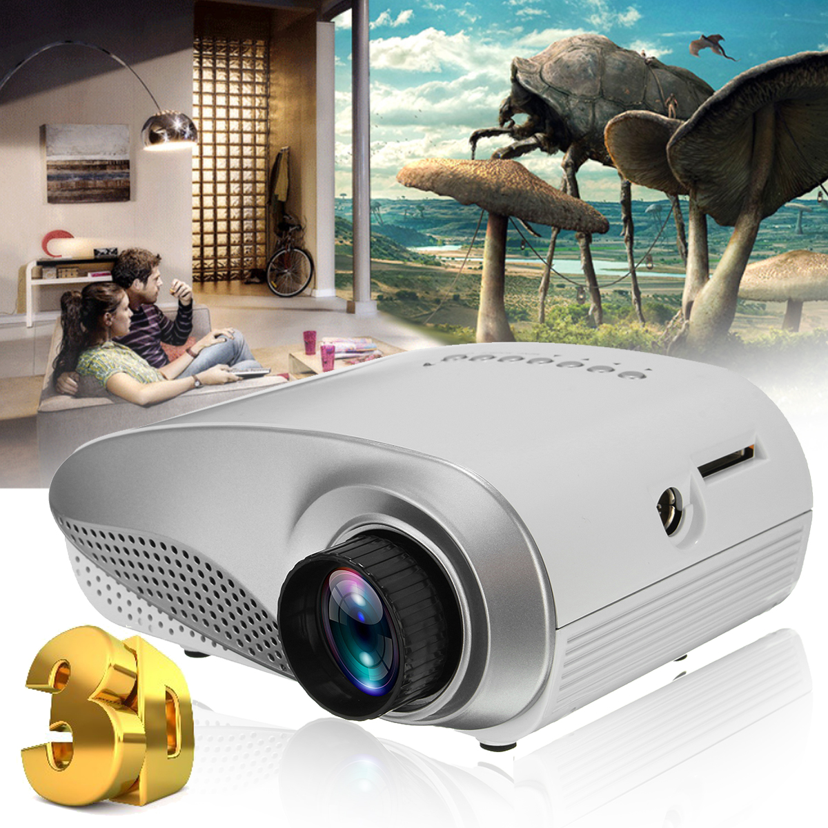 Home Mini Cinema Portable 1080P 3D HD LED Projector Multimedia Home Theater USB VGA HDMI TV Home Theatre System