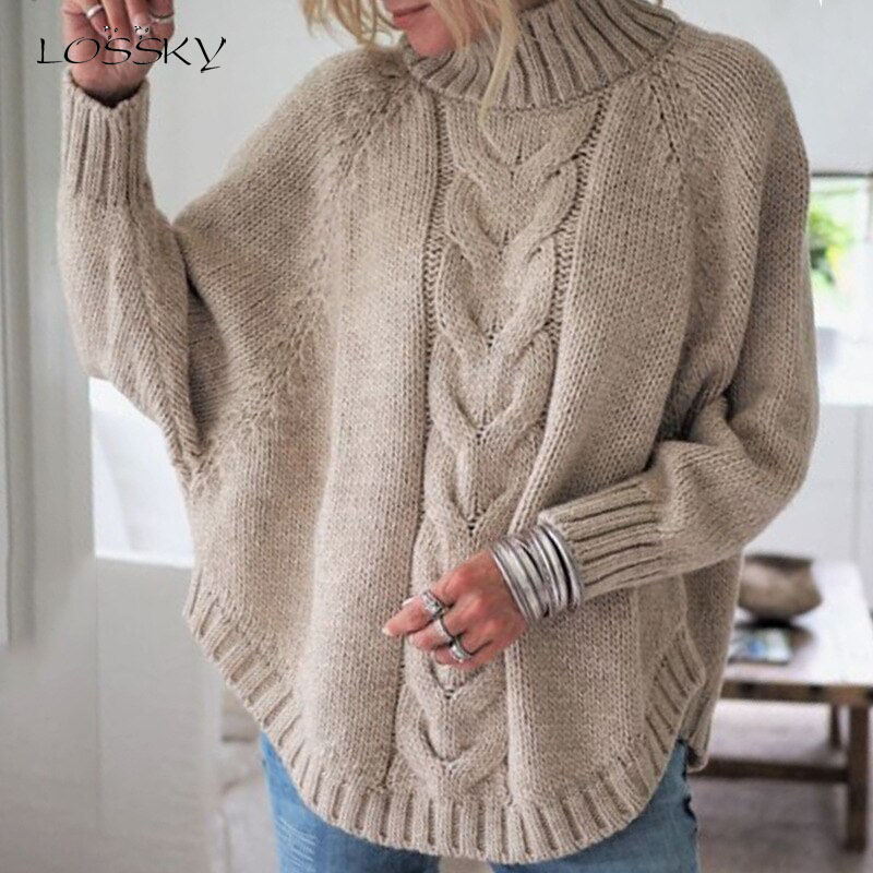 Lossky Solid Sweater Autumn Winter Women Long Sleeve O-Neck Batwing Sleeve Knitting Sweater Tops 2019 Loose Plus Size Sweaters