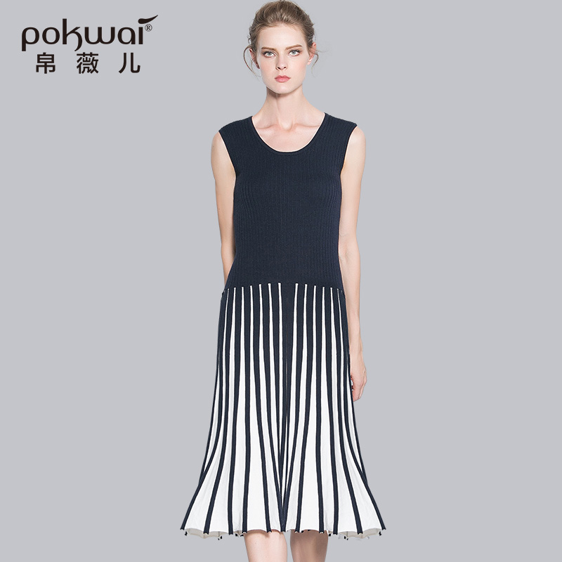 POKWAI Elegant Midi Casual Knitted Autumn Dress Women 2017 Brand Womens  Clothing Sleeveless Patchwork Pleated Crochet