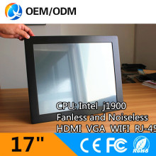 Fanless and noiseless 17″ industrial PC touch screen pc Resolution 1280×1024 with J1900 1.99GHz cpu 8GB DDR3 128G SSD