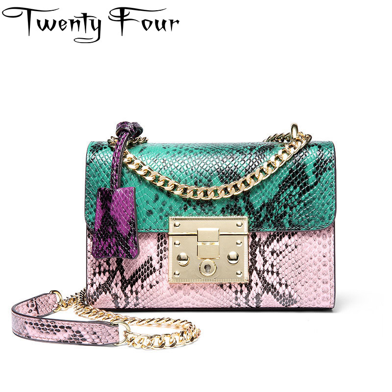 Twenty-four Women Luxury Brand shoulder bag real Genuine Leather serpentine flap bag Lady chains cross body bags panelled key twenty four women brand flap bags natural genuine leather handbags with chain solid color cover small bags young cross body bags