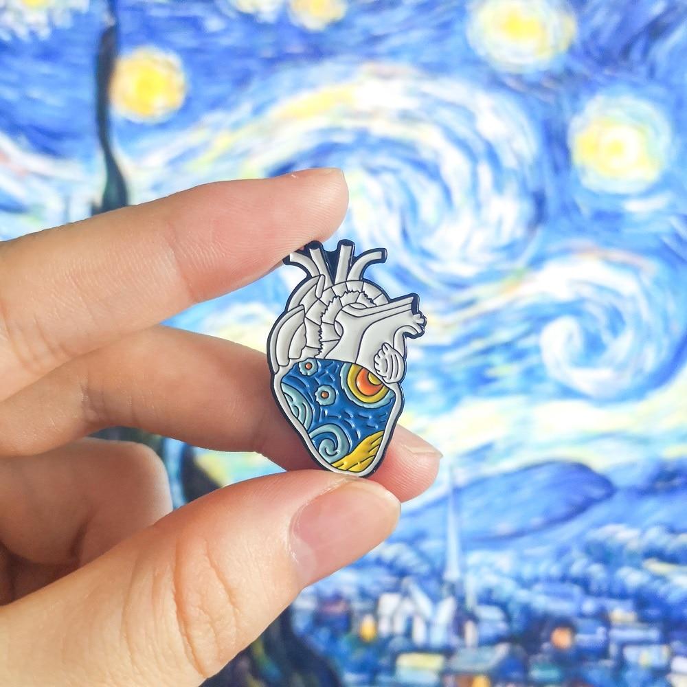 Van Gogh Starry Sky Anatomical Heart Enamel Pins Organ Medical Art Artist Brooches Heart Badge Brooches Lapel Pin For Men Women