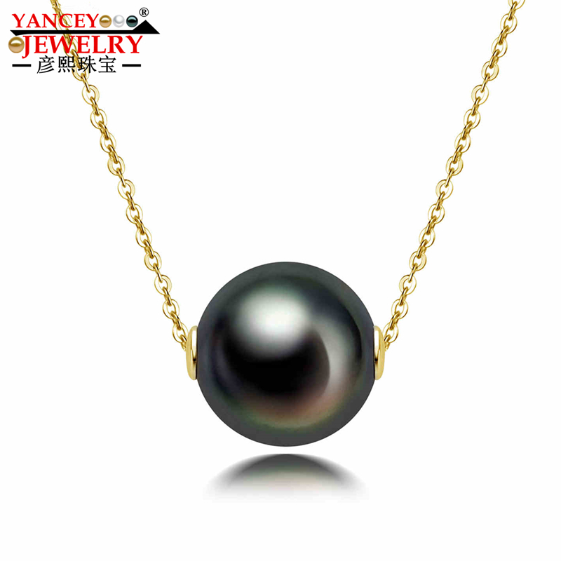 YANCEY JEWELRY 11-12MM natural Tahitian black pearl piercing clavicle pendant necklace 18k gold necklace 18YANCEY JEWELRY 11-12MM natural Tahitian black pearl piercing clavicle pendant necklace 18k gold necklace 18
