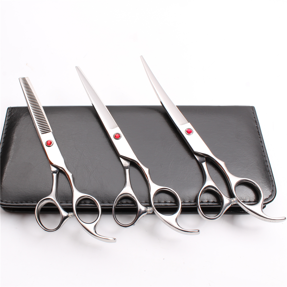 C3003 3Pcs 7 Customized Logo 440C Animal Flur Clippers Cutting+Thinning Scissors+UP Curved Shears Professional Pets Hair