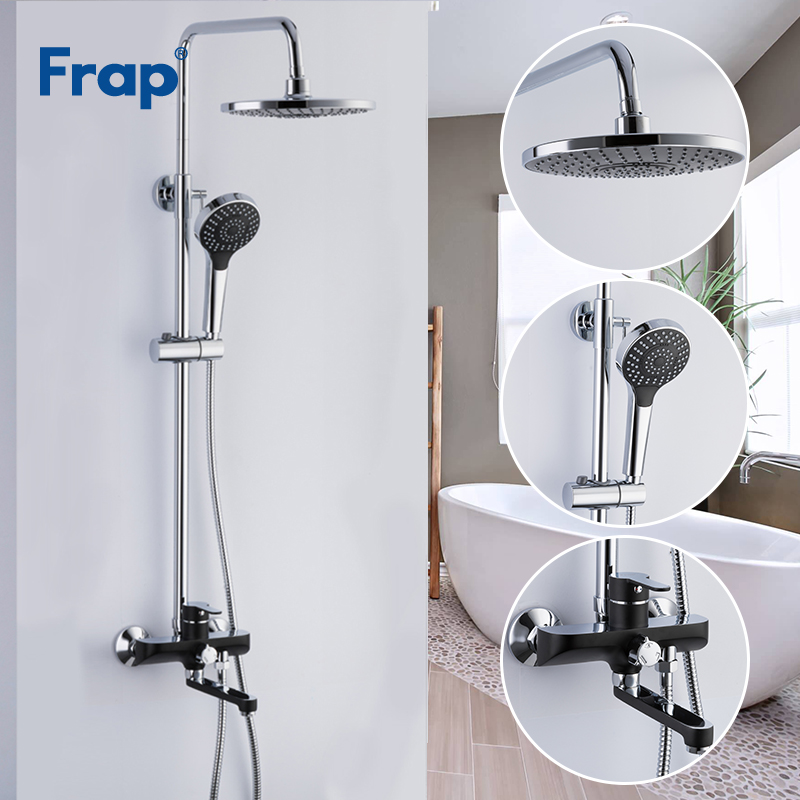 Frap Bathroom Shower Faucets Brass Bath Faucet Mixer Tap With Hand Shower Head Set Wall Mounted