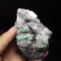351g NATURAL Stones and Minerals Rock Emerald green symbiosis with quartz crystal gem stone ore sample collection ZML3