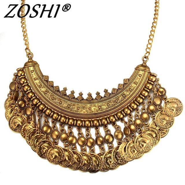 Women Gypsy Necklace Fashion Jewelry Bohemian Antique Gold ...
