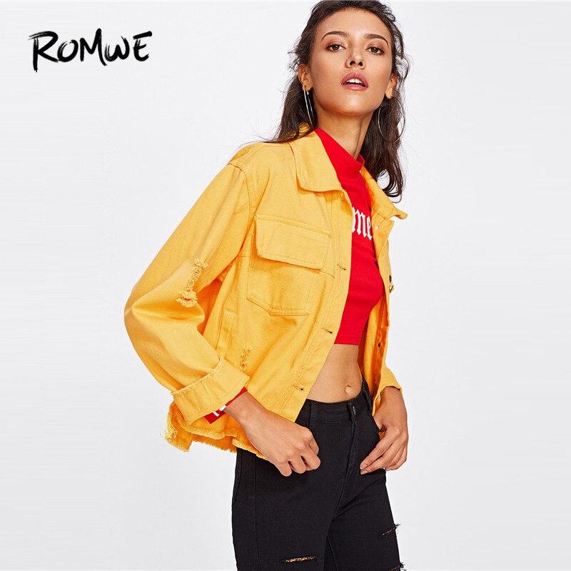 ROMWE Slit Side Frayed Denim Jacket Casual Breasted Women Ripped Yellow Basic Coat Spring Fall Collar Long Sleeve Jacket 1