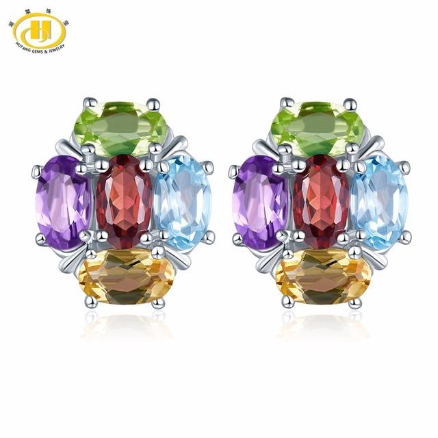 Hutang Colorful Gemstone Stud Earrings Genuine Garnet Peridot Sky Blue Topaz 925 Sterling Silver Fine Jewelry for Women Gift New