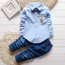 Одежда для маленьких мальчиков, коллекция 2018 года, корейские полосатые рубашки с длинными рукавами для отдыха, топы + джинсы, 2 предмета, Одежда для младенцев, детские спортивные костюмы Bebes