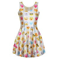 Adogirl New Fashion Sleeveless Mini Dresses Casual Round Neck White Emoji Skater Dress Lovely QQ Smile