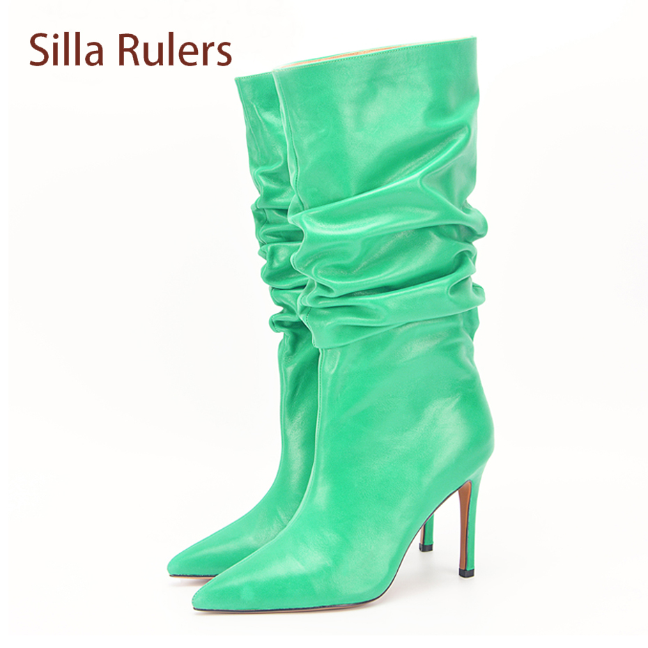4986a365bc7f Silla Rulers Spring Autumn Women Over The Knee Boots Sexy Pointed Toe Thin  High Heel Print Boots Thigh High Flower Stretch Boot