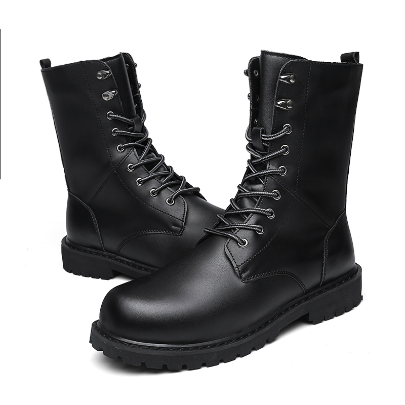 2018 New Fashion Combat Boots Men Winter Footwear Martin Military Desert Boots Men's Leather Ankle Boots Men Snow Boots Big Size 2018 fashion combat boots men winter footwear martin military desert boots men s ankle boots snow shoe work plus size