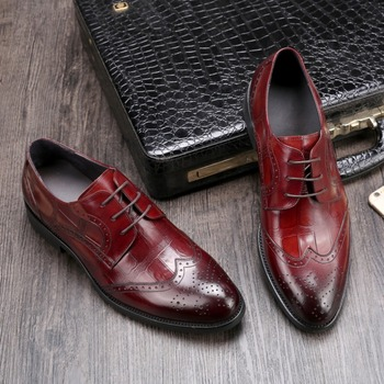 CH.KWOK Coffee Black Wine Italian Leather Dress Shoes For Man Gentle Groom Wedding Tuxedo Party Formal Carved Oxfords Shoes