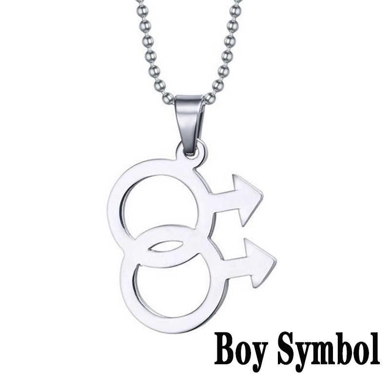 2019 Fashion LGBT Gay Pride Rainbow Girl Boy Symbol naszyjniki wisiorek naszyjnik ze stali nierdzewnej mężczyzn biżuteria