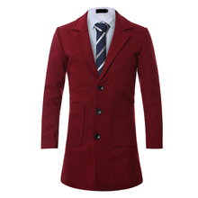 Long section woolen coat mens large pockets decorative solid color casual S-4XL high-end slim