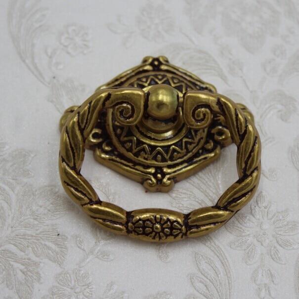 96mm Shaky Drop Ring Drawer Pulls Europe Gold Cabinet Handles Antique Zinc  Alloy Dresser Shoe Cabinet