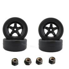 4x RC Car Tires & Hexagonal Conjunto de Ruedas de 26mm Ancho 12mm Con Espuma 1/10o En Carretera Piezas de automóviles