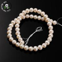Natural Pearl Round Bead Strands, PeachPuff, 9~10mm, Hole: 0.8mm; about 47pcs/strand, 15.95