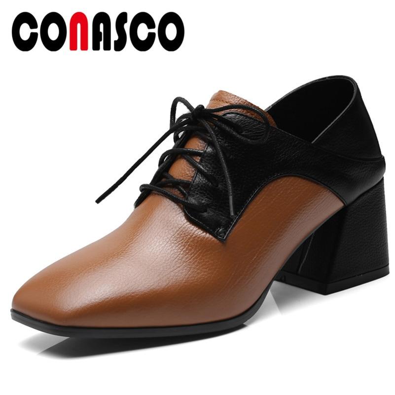 c3ece3dc3 Cuero Zapatos Mujer Primavera Elegante Atado Patchwork Oficina Retro Alto  Las Tacón Conasco De Corss Y Genuino Moda Verano marrón ...