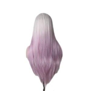 Image 2 - Woodfestival feminino resistente ao calor ombre peruca sintética longo cabelo reto cosplay perucas para mulher