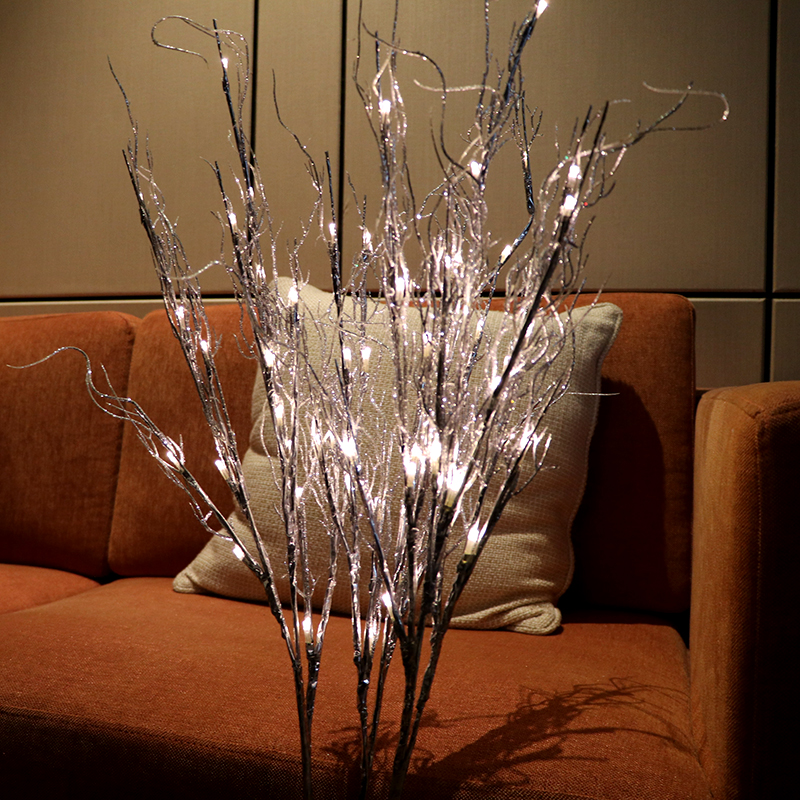LED Silver Roots Twig Branch Floral Light 100cm Artificial ...