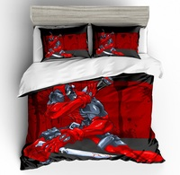 Black/Red Deadpoor Bedding Set 3 Pieces Action Film Character Duvet Cover Set Luxury Microfiber Bedding Set with 2 Pillowcase