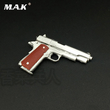 1/6 Silver M1911 45 pistol model Material of the material can not be launched  for 12 inches Soldier Figure Accessories