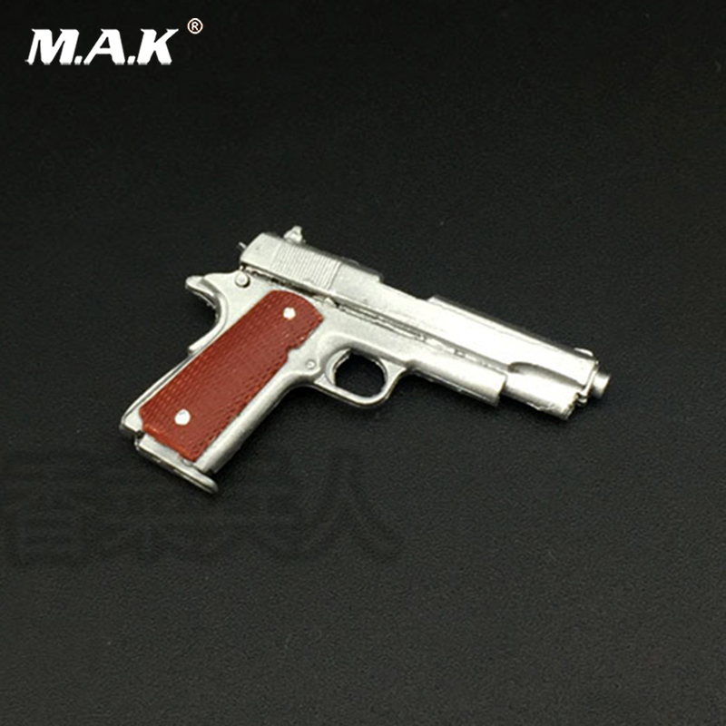 1/6 Silver <font><b>M1911</b></font> 45 pistol model Material of the material can not be launched for 12 inches Soldier Figure Accessories image