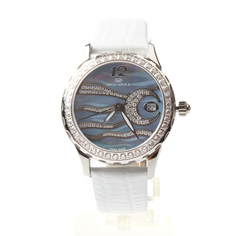 Seagull Rhinestones Bezel Mother of Pearl Dial PVD With Stainless Steel Women Automatic Mechanical Watch 719.762L цена 2016