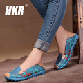 HKR 2017 spring women genuine leather shoes slip-on ballet women flats print woman shoes 4 colors moccasins ladies shoes 3591