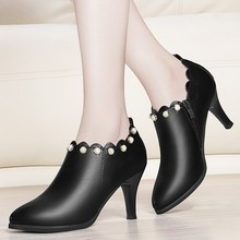 Brand Design Genuine Leather Ankle Boots Women Shoes Sexy High Heel Ankle Boots Fashion Pointed Toe Autumn Boots Black YG-A0215 fashion motorcycle boots women extreme high heel round toe dance boots sexy leather irregular ankle boots