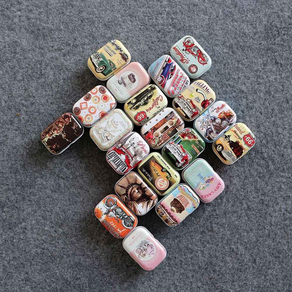 新しいファッションヴィンテージ漫画のブリキの箱 5.5*4*2.5 センチメートルキャンディーピル Chutty ミニ収納家の装飾収集品ディスプレイ