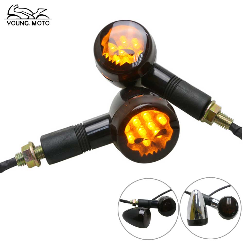YOUNG.MOTO Pair 10mm Black Chrome Bullet Motorcycle Skull Turn Signal Lights Indicator Blinker Smoke Lens Amber Light For Harley