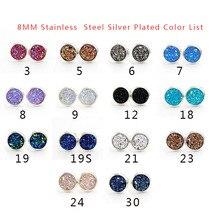 Fnixtar 8mm Stainless Steel Tiny Drusy Stud Earrings Round Cut Faux Druzy Earrings For Women  20 pairs/lot