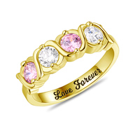 AILIN Custom Rings For Women XOXO Four Birthstones Ring Engraved Ring Valentines Day Gift Gold Color
