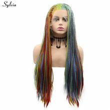 Sylvia Handmade Box Braided Wigs For Women Rainbow Wig Heat Resistant Synthetic Lace Front Wig Cosplay Braids Wig Drag Queen