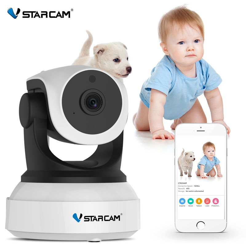 Monitor Vstarcam Baby 720P Wifi Security IP Kamera IR Vizion Natë Mbikëqyrje regjistrimi audio Kamera IP wireless HD C7824WIP