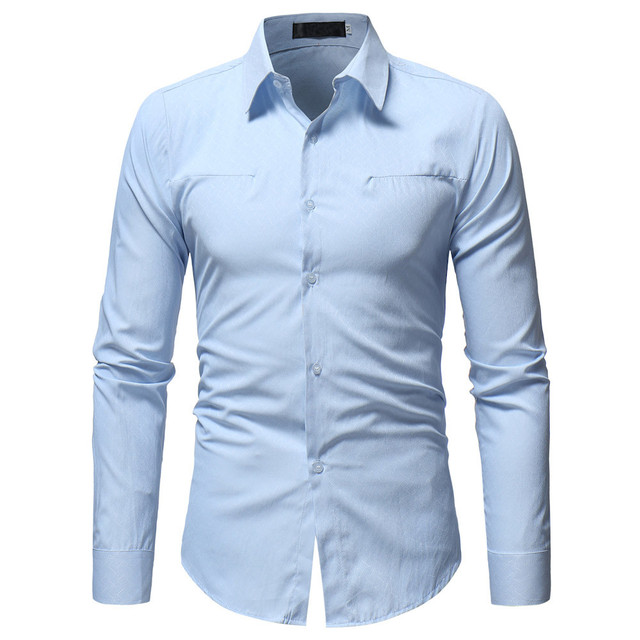 New Men Spring Autumn Casual Cotton Blend Shirt Fashion Solid Color Male Casual Long Sleeve Turn Down Collar ShirtT Shirt Men 1