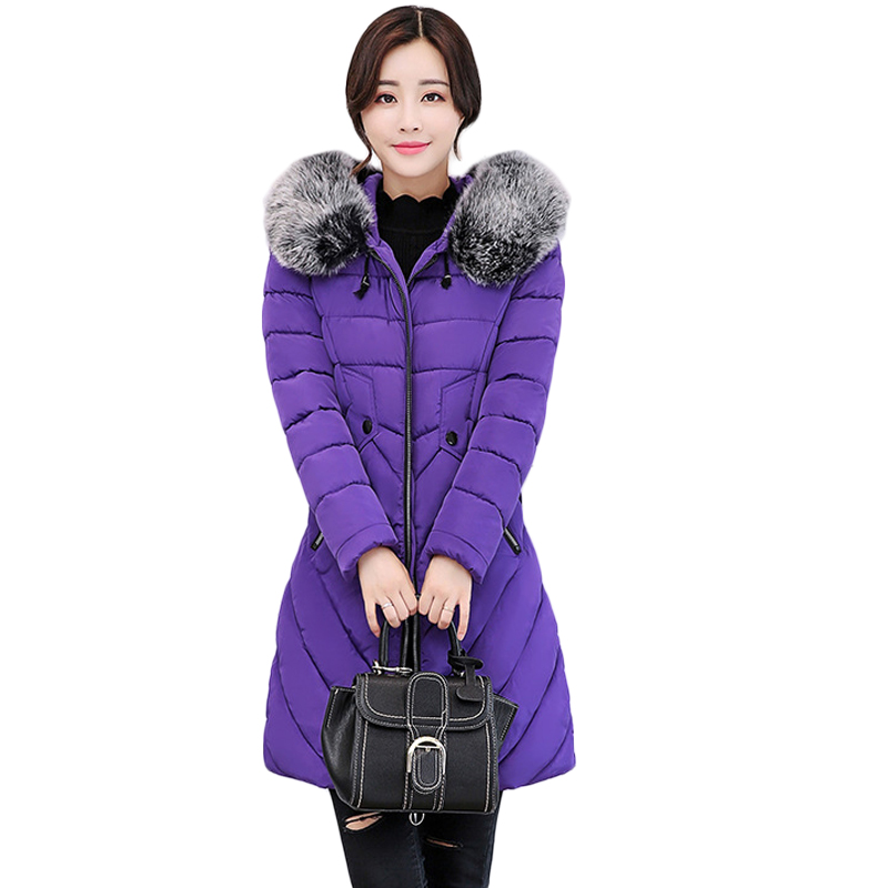 2017 New Winter Jacket Women Long Slim Large Fur Collar Hooded Down Cotton Parkas Thick Female Wadded Coat Plus Size 3XL CM1776 winter feather cotton women outwear long section thick section slim hooded coats large fur collar large size down jacket lx165
