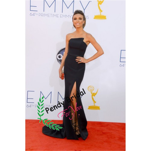 Giuliana Rancic Black Strapless Formal Prom Dress Mermaid Evening