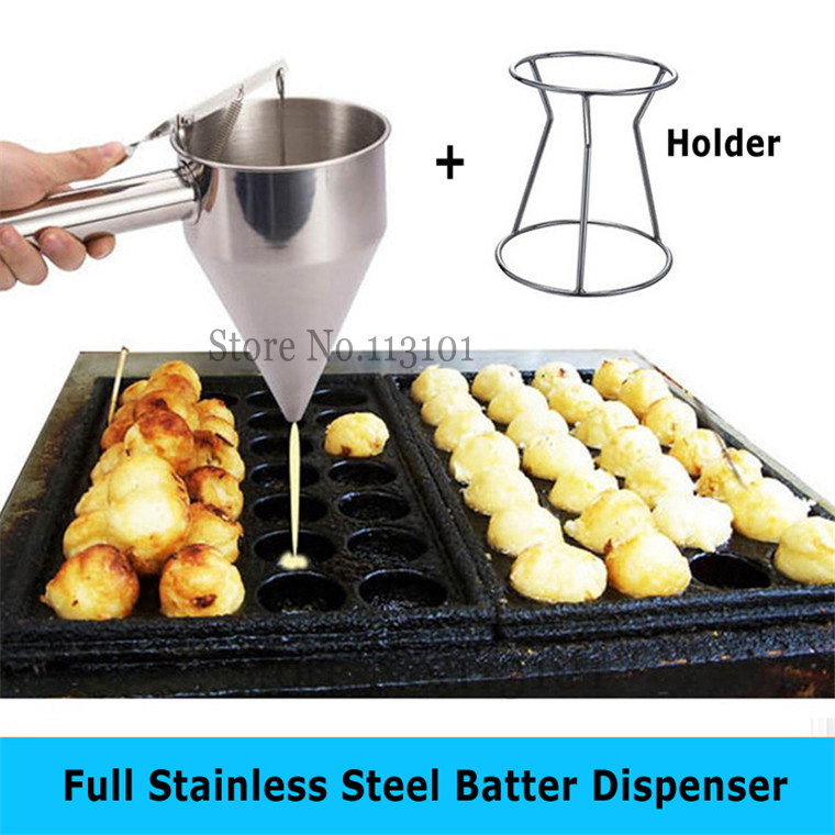 Stainless Steel Batter Dispenser Food Tool Takoyaki Dispenser Hopper kitchen appliance for Taiyaki Waffle Making цена
