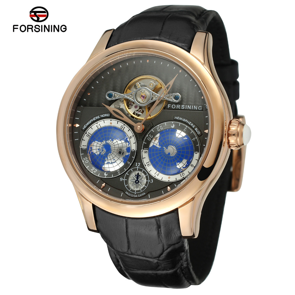 Forsining Men s Newest Earth Design Tourbillion Watch Automatic Genuine Leather Strap Stainless Steel Case Wristwatch