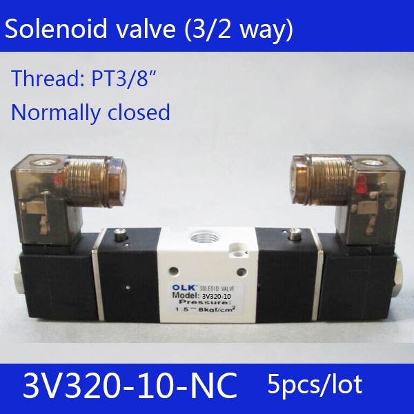 все цены на 5pcs Free shipping 3V320-10-NC solenoid Air Valve 3Port 2Position 3/8