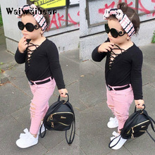 Autumn Fashion Kids Girls Sets Baby Long -Sleeved Black Tops +Holes Pant 2PCS Outfits Casual  Clothes