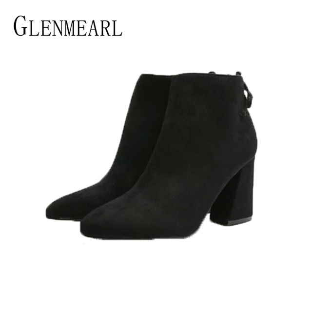 Ankle Boots For Women Winter Shoes Brand Thick Heels Pointed Toe Female Boots Autumn Casual Shoes Ladies 2019 DE 1