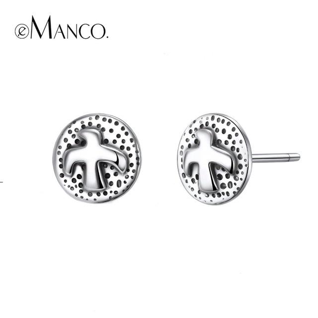 e-Manco 925 Sterling Silver Flying Bird Earrings Prevent Allergy Elegant Round E