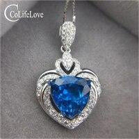 5 КТ ВВС трлн. топаз кулон для женские натуральные топаз кулон ожерелье 925 серебро топаз ювелирные изделия романтический подарок на день рож
