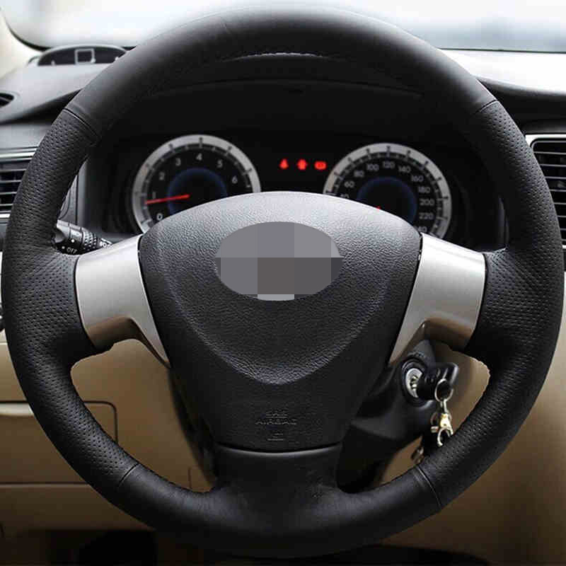цена на Black Leather Hand-stitched Car Steering Wheel Cover for Toyota Corolla 2006-2010 Toyota Corolla EX